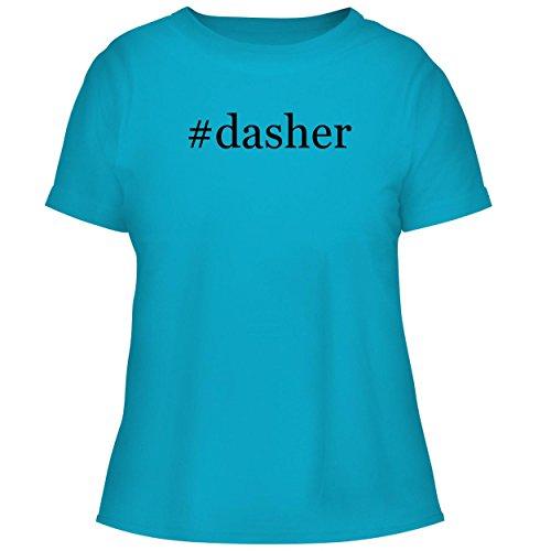 Glass Reindeer Spun (BH Cool Designs #Dasher - Cute Women's Graphic Tee, Aqua, X-Large)