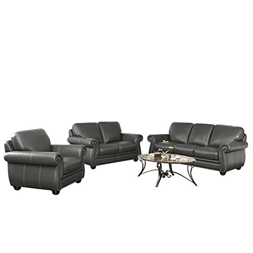 Abbyson Living Austin 3 Piece Leather Sofa Set in Gray