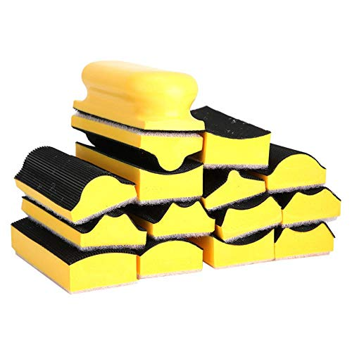 16 Pcs Hand Sanding Block for Polishing of Woodwork, Automobile, Metal,Paint Surface etc,Labor-saving and Efficient,Various Chassis Shapes