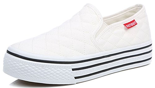 Idifu Donna Casual Slip On Sneakers Di Tela Low Top Flat Toe Platform In Mocassino Bianco