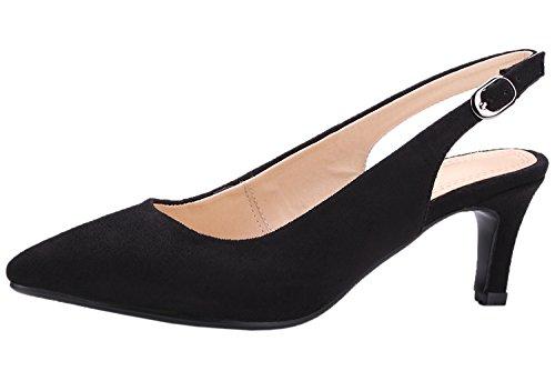 Dedo del pie puntiagudo Sandalias Mujer de BIGTREE Boda Zapatos de tacón Hebilla ajustable Slingback Vestir Sandalias Negro