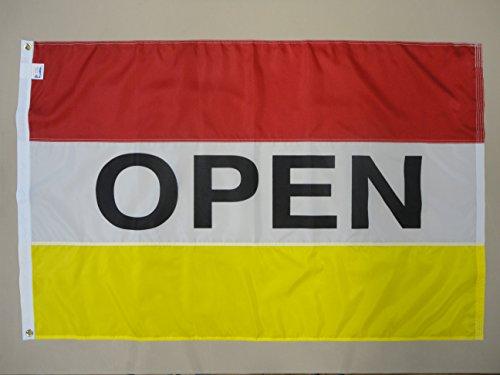 """Nylon Horizontal Message Flag, 3' x 5', """"Open"""", Red, White a"""