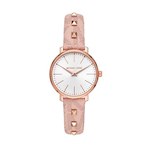 Michael Kors Women's Pyper Stainless Steel Quartz Watch with Plastic Strap, Pink,...