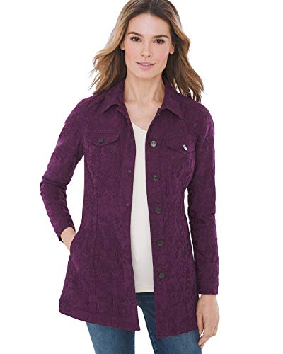 Chico's Women's Elongated Jacquard Jacket Size 16/18 XL (3) Purple