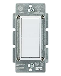 Ge Add-on Switch Only For Ge Z-wave, Ge Zigbee & Ge Bluetooth Wireless Smart Lighting Controls, Not A Standalone Switch, Incl. White & Light Almond Paddles, 12723, Works With Alexa