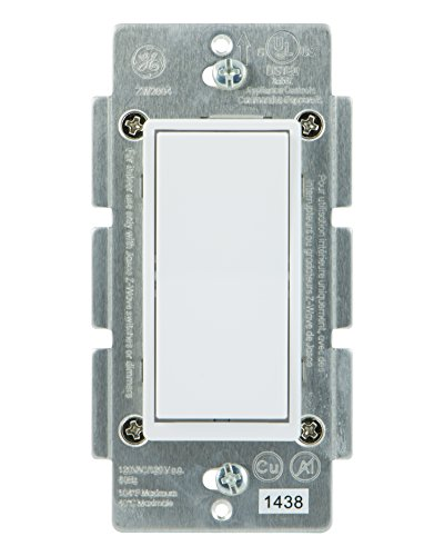 GE Add-On Switch for GE Z-Wave, GE ZigBee and GE Bluetooth Wireless Smart Lighting Controls, NOT A STANDALONE SWITCH, Incl. White & Light Almond Paddles, Works with Amazon Alexa (Hub Required), 12723