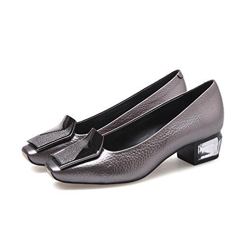 Europa y los estados unidos viento zapatos de cuero/Boca baja cabeza cuadrada con zapatos/Hebilla lateral con un solo zapato B