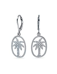 Bling Jewelry CZ Palm Tree Twisted Rope Oval Sterling Silver Leverback Drop Earrings