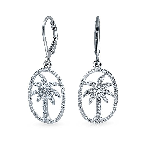 Bling Jewelry CZ Palm Tree Twisted Rope Oval Sterling Silver Leverback Drop - Beach Blizzard Open