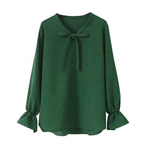 Sciolto Lunga Manica T Maglietta Camicetta Chiffon Fiocco Shirt Camicia Elegante AILIENT Moda con Verde Donna Blusa pxPwfn4q