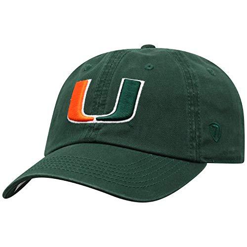 World Miami Hurricanes Green - Top of the World NCAA-Cotton Crew-City-Adjustable Strapback-Hat Cap-Miami Hurricanes-Green