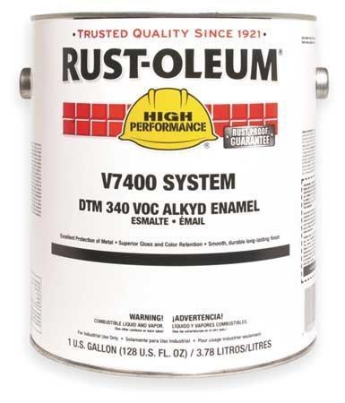 Rust-Oleum V7400 Series <340 Voc Dtm Alkyd Enamel, Semi-Gloss White Gallon Can - Lot of 2