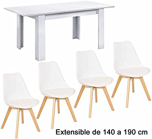 4 Sillas + Mesa de Comedor Extensible de 140 a 190 cm,Blanco ...