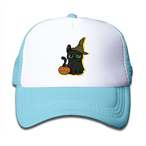 NO4LRM Kid's Boys Girls Halloween Black Cat Hat Pumpkin Youth Mesh Baseball Cap Summer Adjustable Trucker -