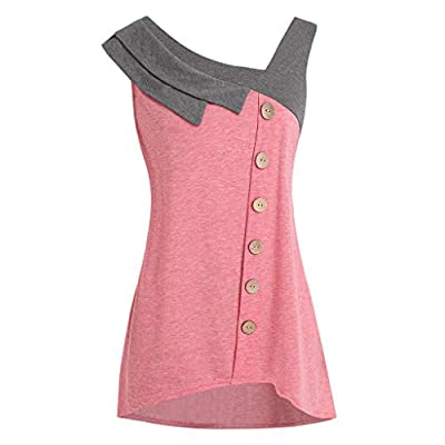 Sunmoot Plus Size Tank Top for Women Fashion Patchwork Skew Neck Asymmetric Hem Sleeveless Button Casual T-Shirt