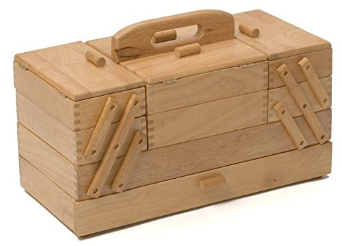 Sewing Box 4 Tier Large Light Wood Cantilever