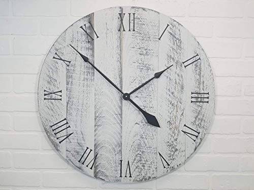 """24"""" White with Black Undertones Wall Clock Distressed Wood for the Farmhouse look"""