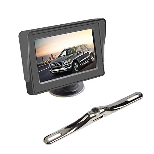 AKK 5.8GHz Wireless Backup Camera Monitor System with 4.3'' LCD Video Color Display for Small Car, Jeeps, and Other Automobile Parking & Reverse