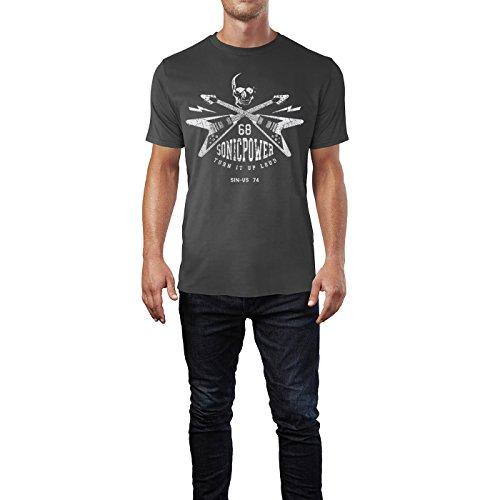 SINUS ART ® Totenschädel mit E-Gitarren – 68 Sonic Power Herren T-Shirts in Smoke Fun Shirt mit tollen Aufdruck