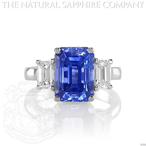 Untreated Sapphire (7.20ct. Natural Untreated Blue Sapphire Ring with 2 E.C Dia. 1.03ct. total. (J2926))