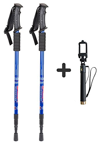 Trail Shock Trekking Poles - Azusa 2 Pack Anti-shock Trekking/Walking/Hiking Trail Poles, Collapsible Lightweight Walking Hiking Sticks, 1 Pair, Bonus With Selfie Stick(blue)