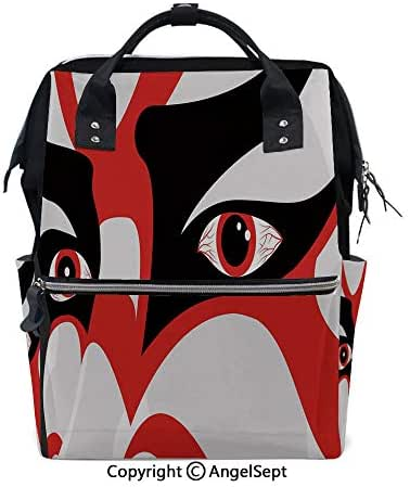 Multi-Function Waterproof Maternity Baby,Japanese Drama Kabuki Face with Dramatic Eyes Cultural Theater Black White Red,15.7 inches,for Boy/Girl On Travel with Stroller Straps