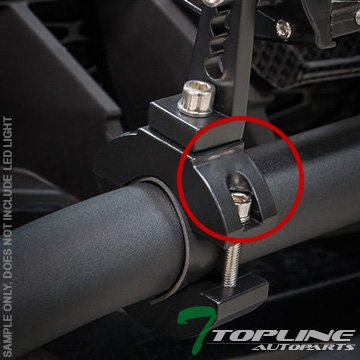 "Topline Autopart Universal Texture Black 1.25"" Tube Lamp Mount Brackets Kit Light Bar Clamps Offroad Road Cage Driving Auxiliary Camera Motorcycle ATV Bikes FRC"