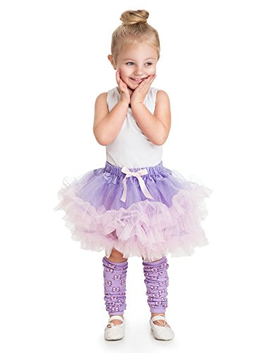 Little Adventures Lilac/Pink Fluffy Ballerina Tutu for Girls - One Size (3-8 Yrs) (Pink Fluffies Leg Warmers)