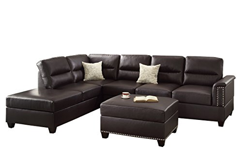 Poundex F7609 Bobkona Toffy Bonded Leather Left or Right Hand Chaise Sectional with Ottoman Set, Espresso Left Sectional