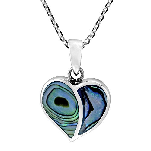 Abalone Inlay Necklace - AeraVida One Love Heart Abalone Shell Inlays .925 Sterling Silver Pendant Necklace