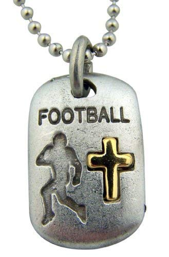 (SINGER Mens Boys Pewter Football Dog Tag Medal with Gold Tone Cross, 1 Inch)