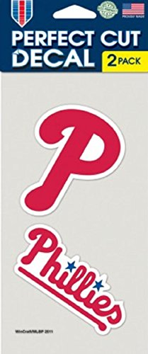Phillies Decals - WinCraft MLB Philadelphia Phillies Perfect Cut Decal (Set of 2), 4
