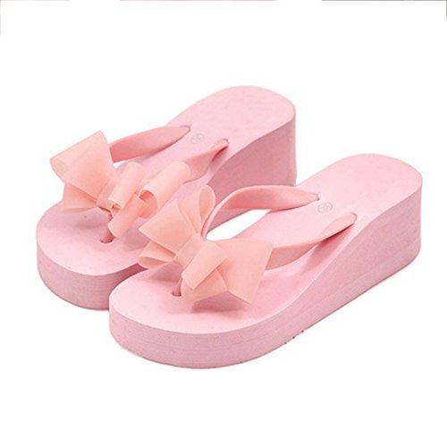 de Picturer7 en Zapatillas de para Mujer de Playa Gruesas Sandalias de rosa Zapatillas Sandalias Lazo Dulce Verano Playa Forma talón de 1rn1F4O