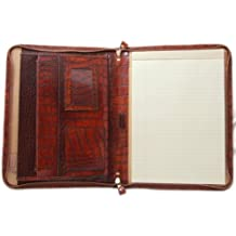 Pratesi Unisex [Personalized Initials Embossing] Italian Leather Dante King Portfolio Notepad Holder in Cognac