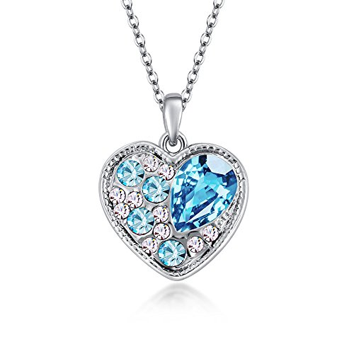 The Starry Night Heart Shape Sea Blue Drop Crystal Pendant Silver Necklace Soul Appointment Fashion - Blizzard Open Beach