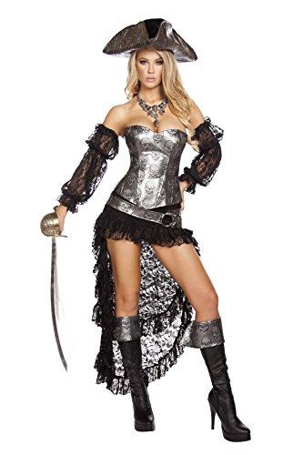 Roma Costume Women's 4 Piece Deadly Pirate Captain, Grey/Black, -