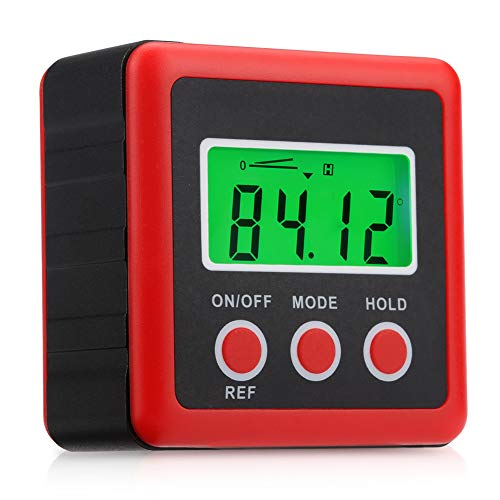 (Aluminium Magnetic Digital Angle Finder Level Digital Angle Gauge, IP54 Dust and Waterproof Digital Inclinometer-Red)