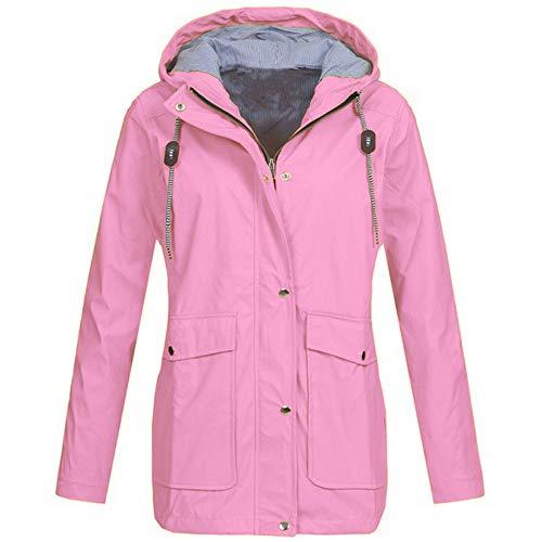 iYBUIA Rain Jackets for Women Plus Size Zipper Raincoats Hoodie Solid Long Sleeve Waterproof Raincoat Outdoor Coats S-5XL
