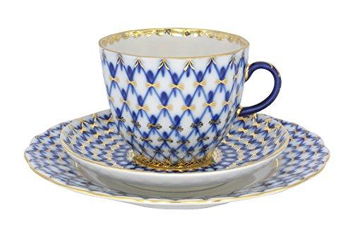 Lomonosov Porcelain Cobalt Net Coffee Cup and Saucer 3pc.