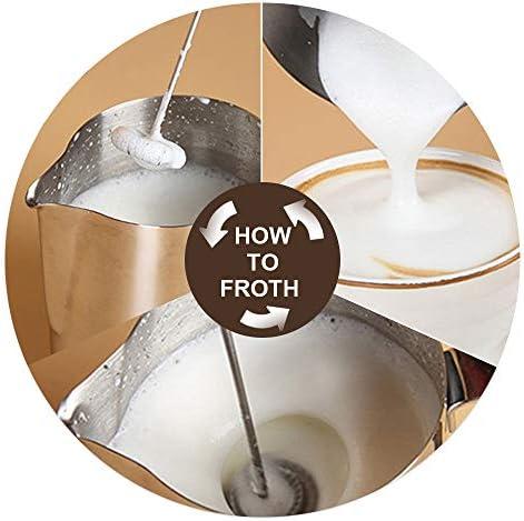 Leepesx Montalatte Elettrico Automatico Schiuma di Latte Creatore per caff/è a Prova di Proiettile Matcha Acciaio Inossidabile Frusta A Batteria Mini frullatore per Miscelatore