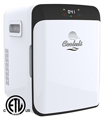 Cooluli Classic Electric Mini Fridge Cooler and Warmer AC/DC Portable Thermoelectric System (White, 15 Liter with Display)