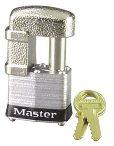 Master Lock 37KA Shrouded Laminated Steel Pin Tumbler Padlock, Keyed Alike, 1-9/16-Inch Wide Body, Shackle Fits 9/32-Inch Or 1/2-Inch Diameter 4 Pin Tumbler Steel Padlock