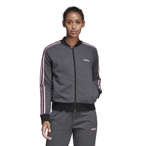 - adidas Women's Essentials Color Block Full Zip Bomber Jacket, Dark Grey Heather/Black/True Pink, Medium