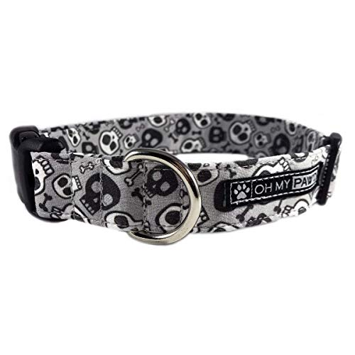 Skull and Bones Dog or Cat Collar for Pets Size Extra Small with Extra Length 5/8