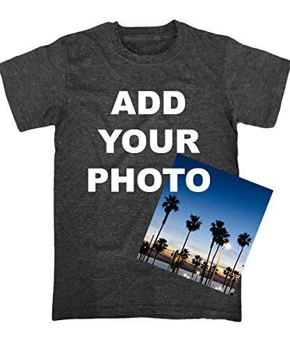 Custom T Shirts Ultra Soft Add Your Photo, Logo for Men & Women Unisex Cotton T Shirt [Charcoal/M]