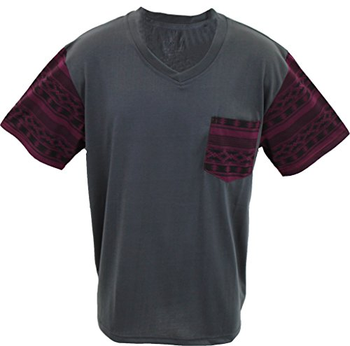 Marx & Dutch Short Sleeve Fashion Geometric Printed V-Neck T-Shirt w Pocket 125113 Charcoal - Blend Geometric V-neck Cotton