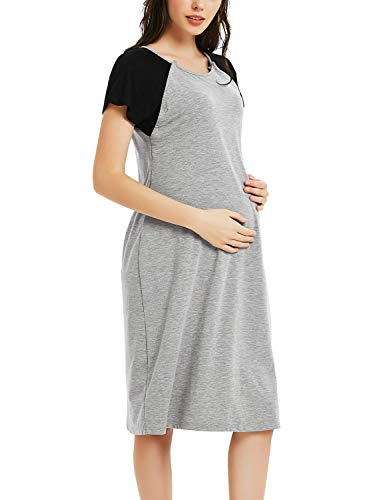 Maternity Labor Delivery Gown Hospital Nursing Nightgown Short Sleeve Nightdress Grey with Black Sleeves S