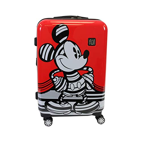 Ful Disney Striped Mickey Mouse 25in Hard Sided Luggage, Red - 25]()