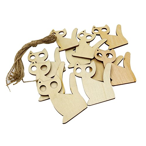 Wood Cat - Dovewill 10 Pieces Wooden Tags Cat Shaped Wood Cutout Hanging Embellishments Decoration