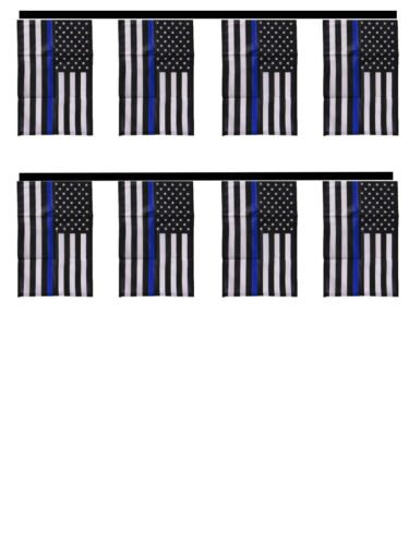 Ant Enterprises USA Police Thin Blue Line Lives Matter 12x18 Bunting String Flag Banner 8 Flags Best Garden Outdor Decor Polyester Material Flag Premium Vivid Color and UV Fade Resistant